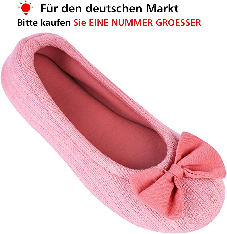EverFoams Damen Gem/ütlich Leicht Frottee Baumwolle Memory Foam Ballerina Hausschuhe