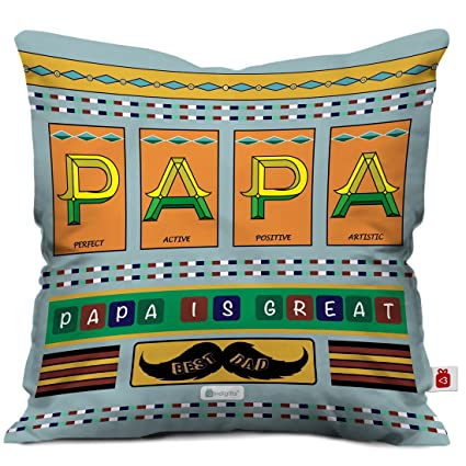 Indigifts Father Birthday Gifts Papa Is Great Unique Cushion Cover 12x12 Inches With Filler Grey