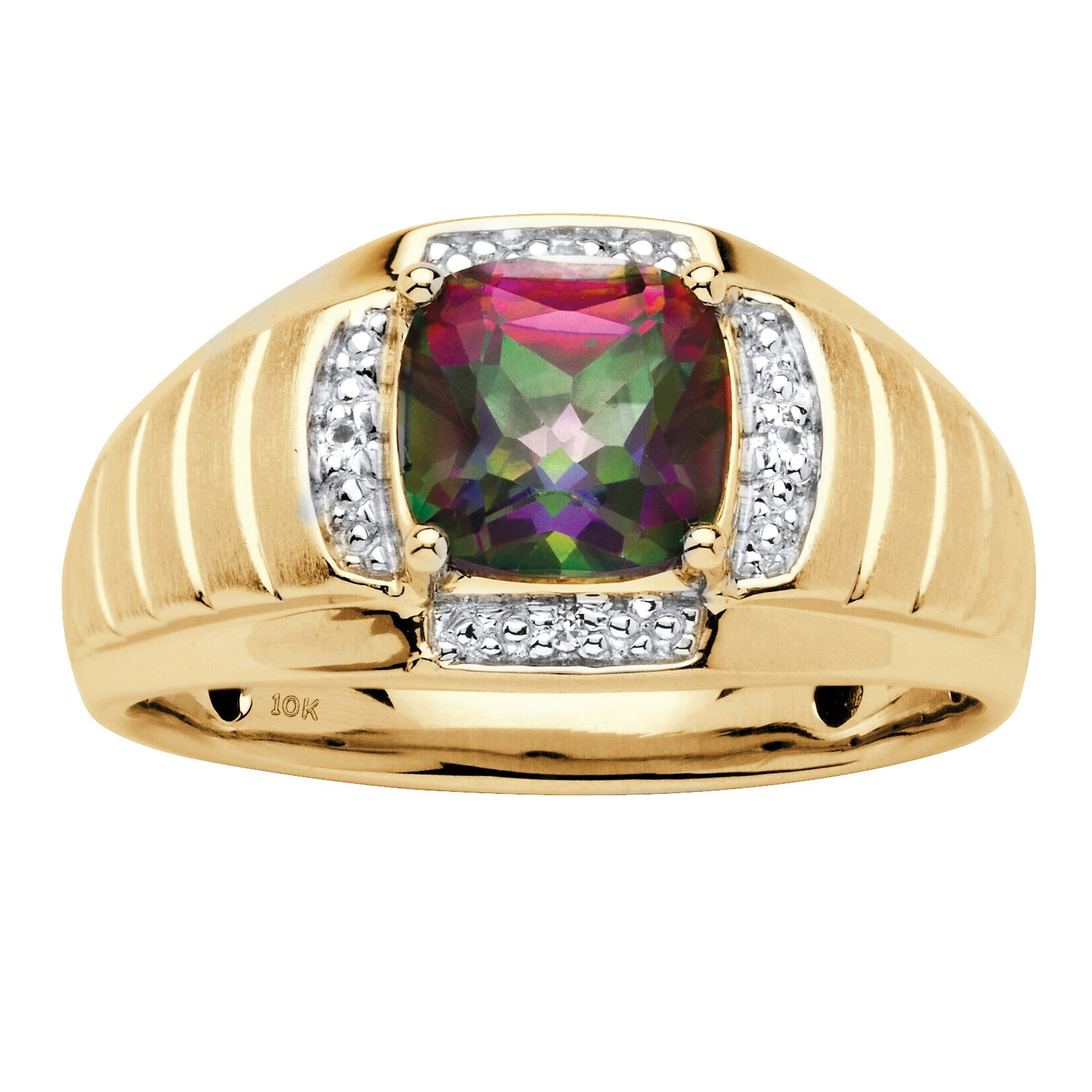 Men's 10K Yellow Gold Genuine Mystic Fire Topaz and Diamond Accent Ring Size 10
