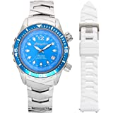 """The Abingdon Co. """"Marina"""" Womens Diving Watch   Automatic Japanese Analog Mvmnt.   Titanium Case   Ladies Sports Watch with T"""