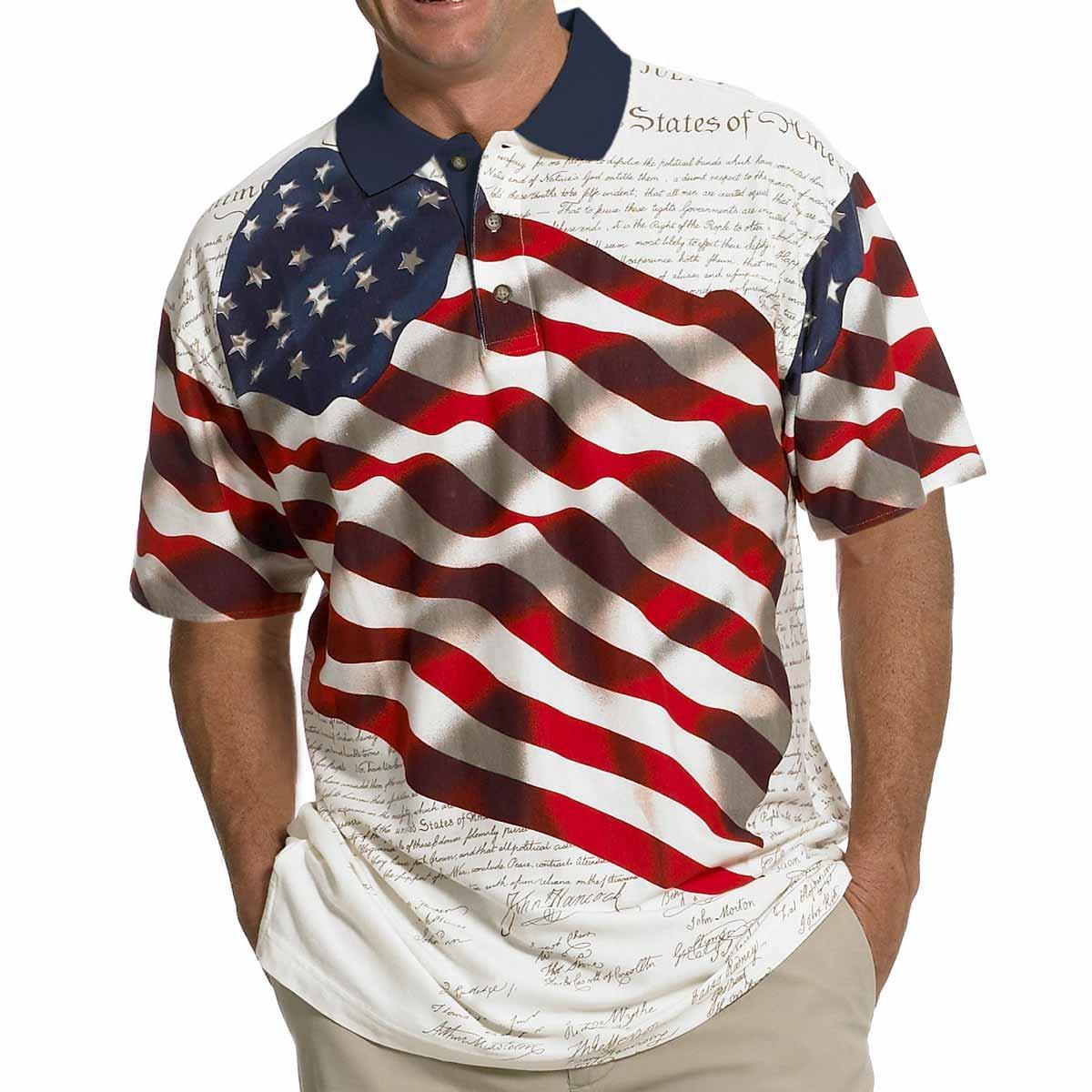 c9631283f047c Men s Stars   Stripes Polo T-Shirt at Amazon Men s Clothing store