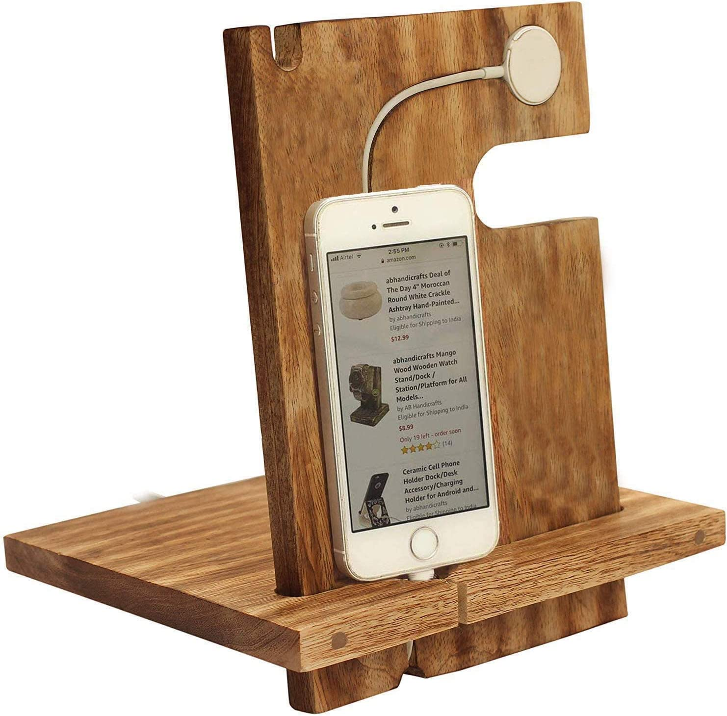 abhandicrafts - Wooden Docking Station Men Personalized 2 in 1 Universal Desktop Stand for Phone Watch All Series 11/11 Pro/11 Pro Max/Xs/X Max/XR/X/8/7/6S Plus Series