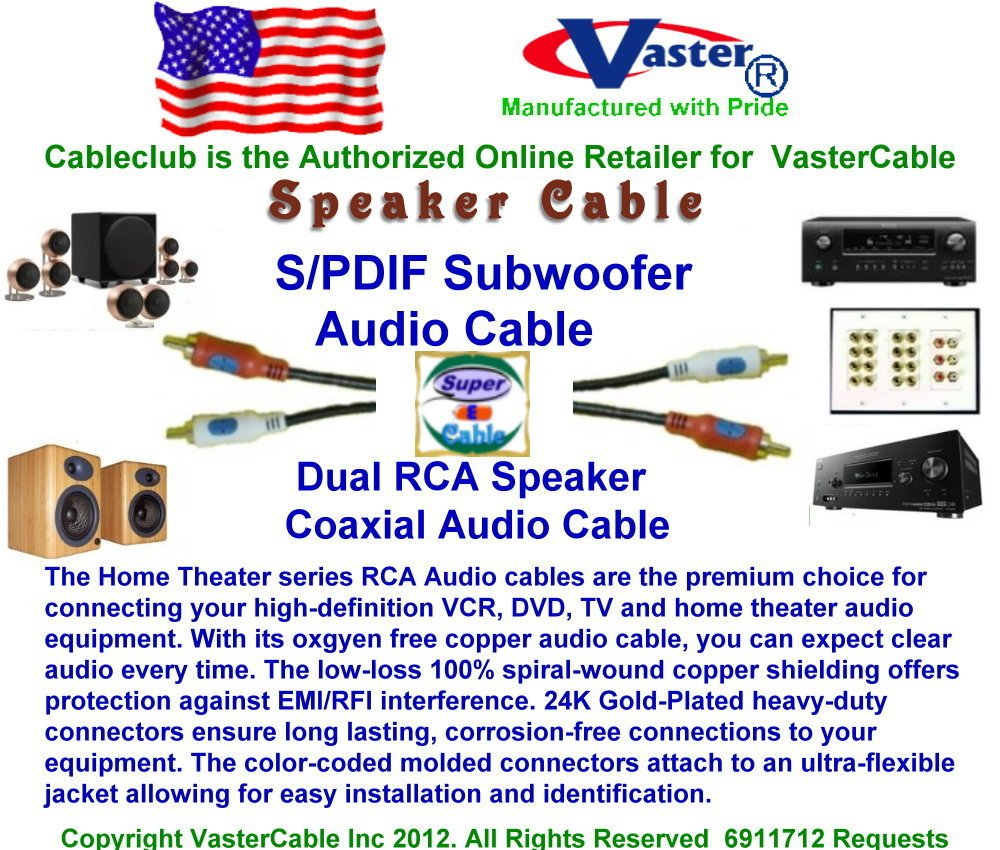 SuperEcable - 5 Pcs/Pack - 10 Ft 24K Gold Plated S/PDIF Subwoofer, Dual RCA Speaker Coaxial Audio Cable