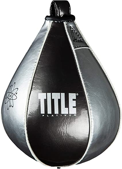 Black Title Boxing Gyro Balanced Leather Punch Training Speed Bag