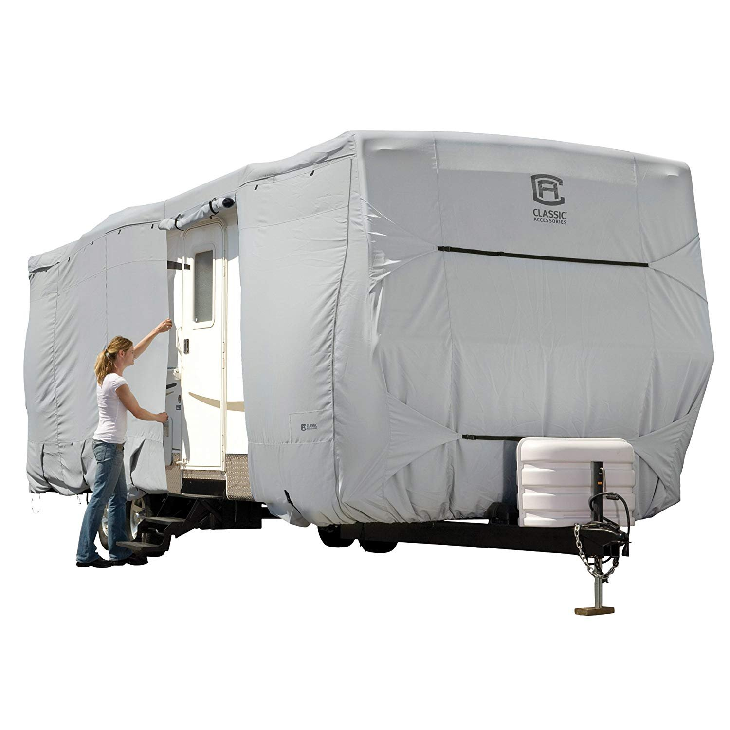 Classic Accessories 80-326-211001-RT Grey 35 feet-38 feet Arctic Blue Product 80-326 Rv Cover Travel Trailer