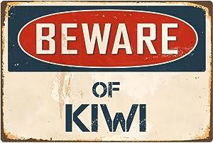"StickerPirate Beware of Kiwi 8"" x 12"" Vintage Aluminum Retro Metal Sign VS238"