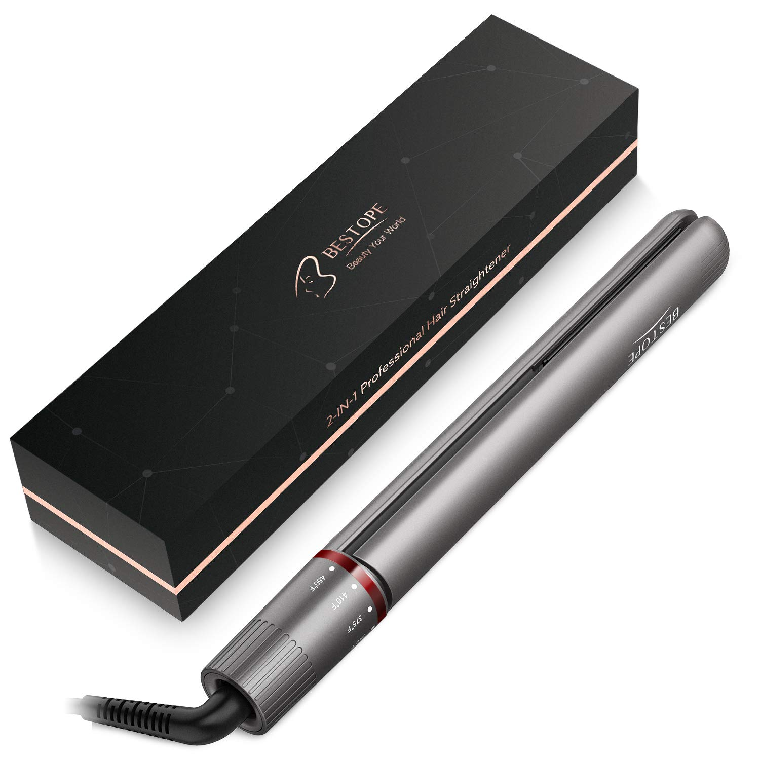 BESTOPE Upgraded Hair Straightener and Curler, 2 In 1 Ceramic Flat Iron for Hair with 15s Heating, 1 Inch Curling Iron Wand Set with Clips and Gloves