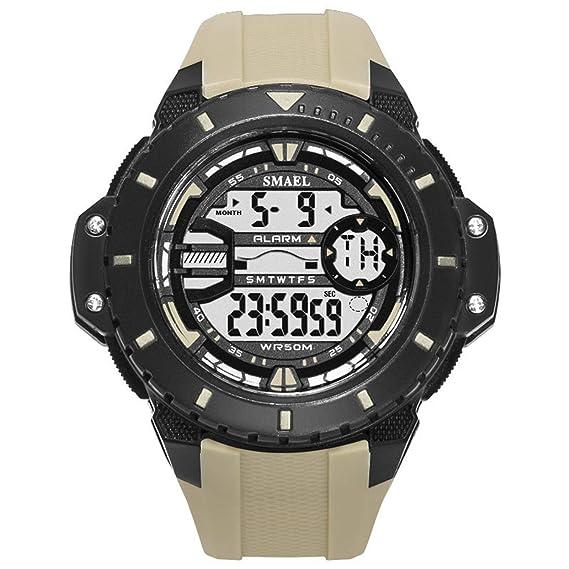 Beydodo Reloj Impermeable Relojes Electronicos Reloj de Estudiante Reloj Hombre Reloj Deportivo Caqui: Amazon.es: Relojes