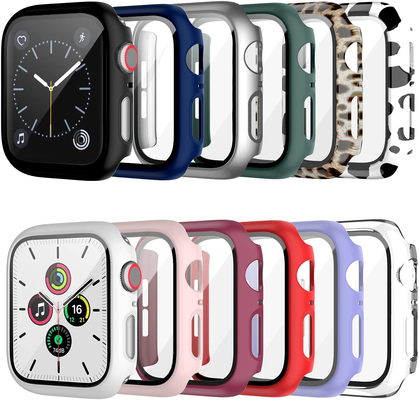 12 Pack Case with Tempered Glass Screen Protector for Apple Watch 40mm Series 6/SE/Series 5/Series 4, Cuteey Full Mate Leopord Cow Pattern PC Cover for Iwatch 40mm Accessories (12 Colors, 40mm)