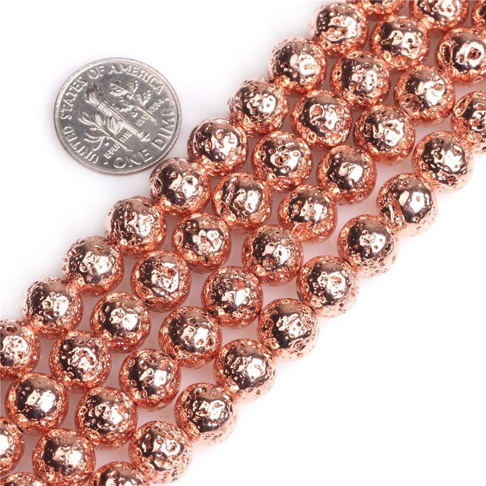 GEM-inside Gold Metallic Coated Volcanic Rock Gemstone 4mm Round Energy Stone Power for Jewelry Making 15