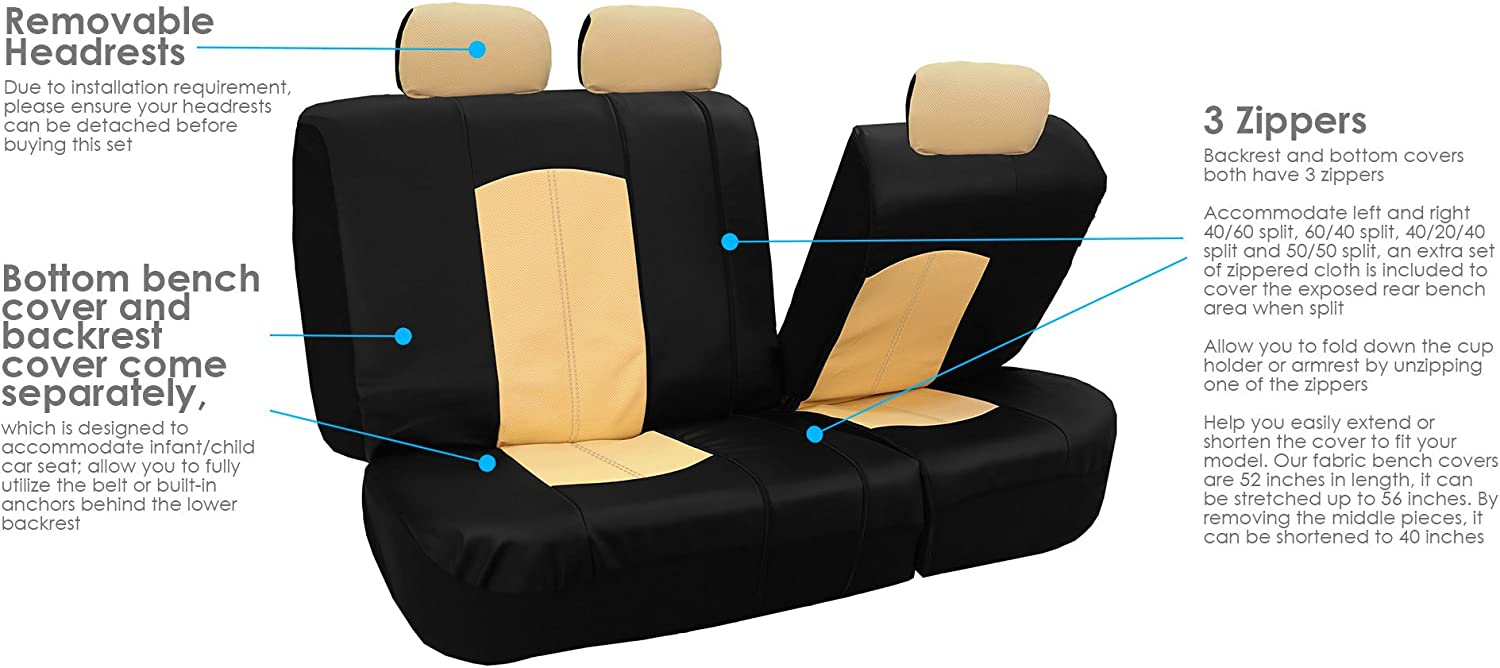 Full Set with Gift Universal Fit Gray FH Group PU008115 Highest Grade Faux Leather Seat Covers