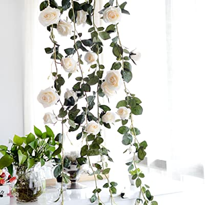PROKTH Fake Creamy Rose Vine Garland, Artificial Flower, Decorative Hanging Emulational Plant for Hotel/Wedding/Home/Party Garden Craft Art Decor: Home & Kitchen