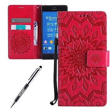 Funda Sony Xperia Z3, Carcasa Sony Xperia Z3, JAWSEU Sony Xperia Z3 Tapa Trasera Carcasa Diseño Floral en Relieve Cuero Billetera PU Leather Premium y ...