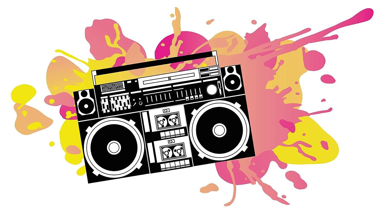 Wandtattoo Jugendzimmer Musik Wandsticker Ghettoblaster mit intensiven Farbklec