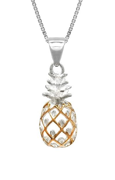 50b361a5e17a Plata de Ley con 14 K chapado en oro rosa Trim piña collar colgante con  cadena
