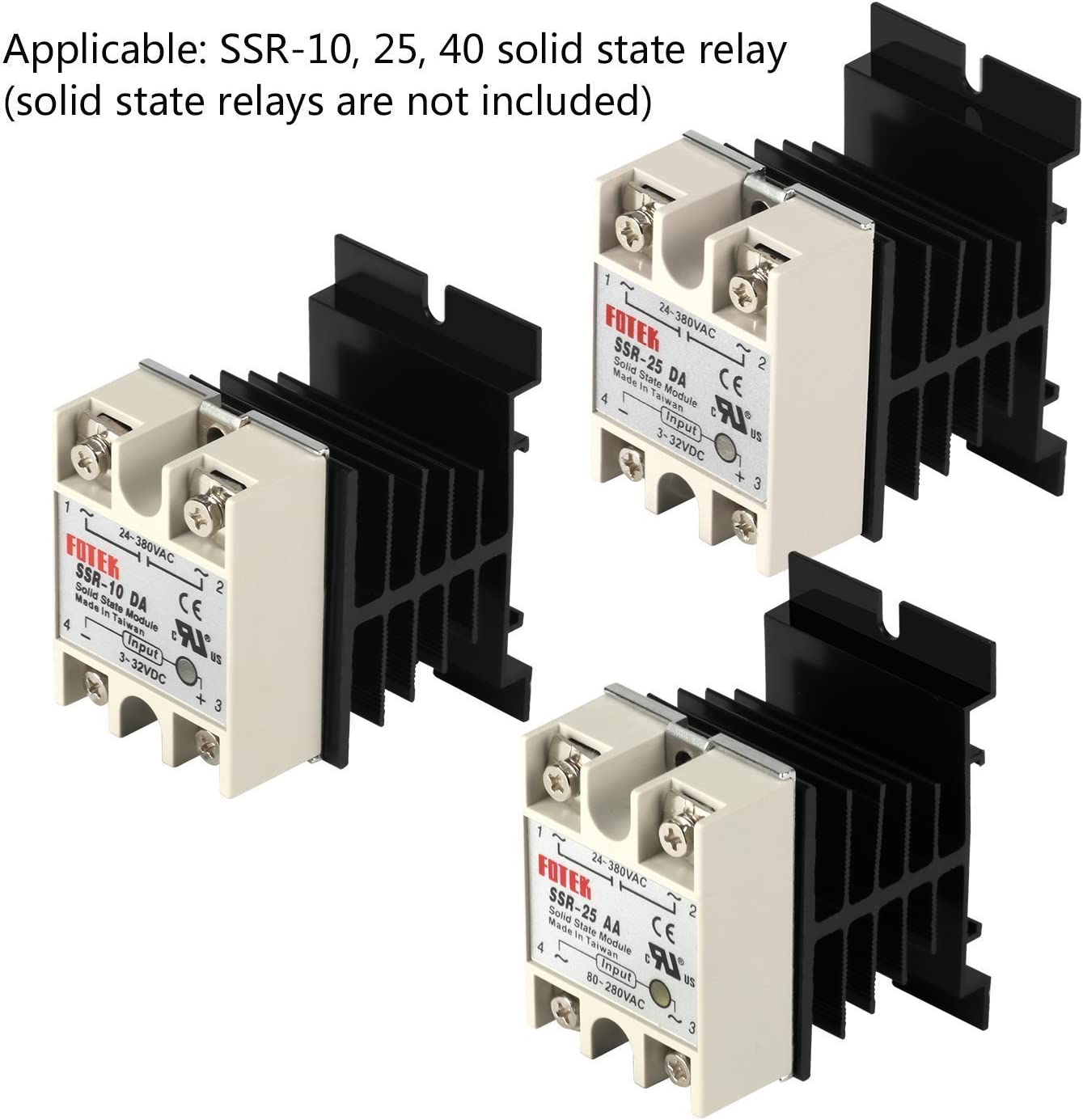 SODIAL Solid State Relay Heat Sink,3PCS Aluminum Heatsink PID Temperature Controller Heat Sink for Solid State Relay and SSR Radiator Module Black for SSR-10,25,40A