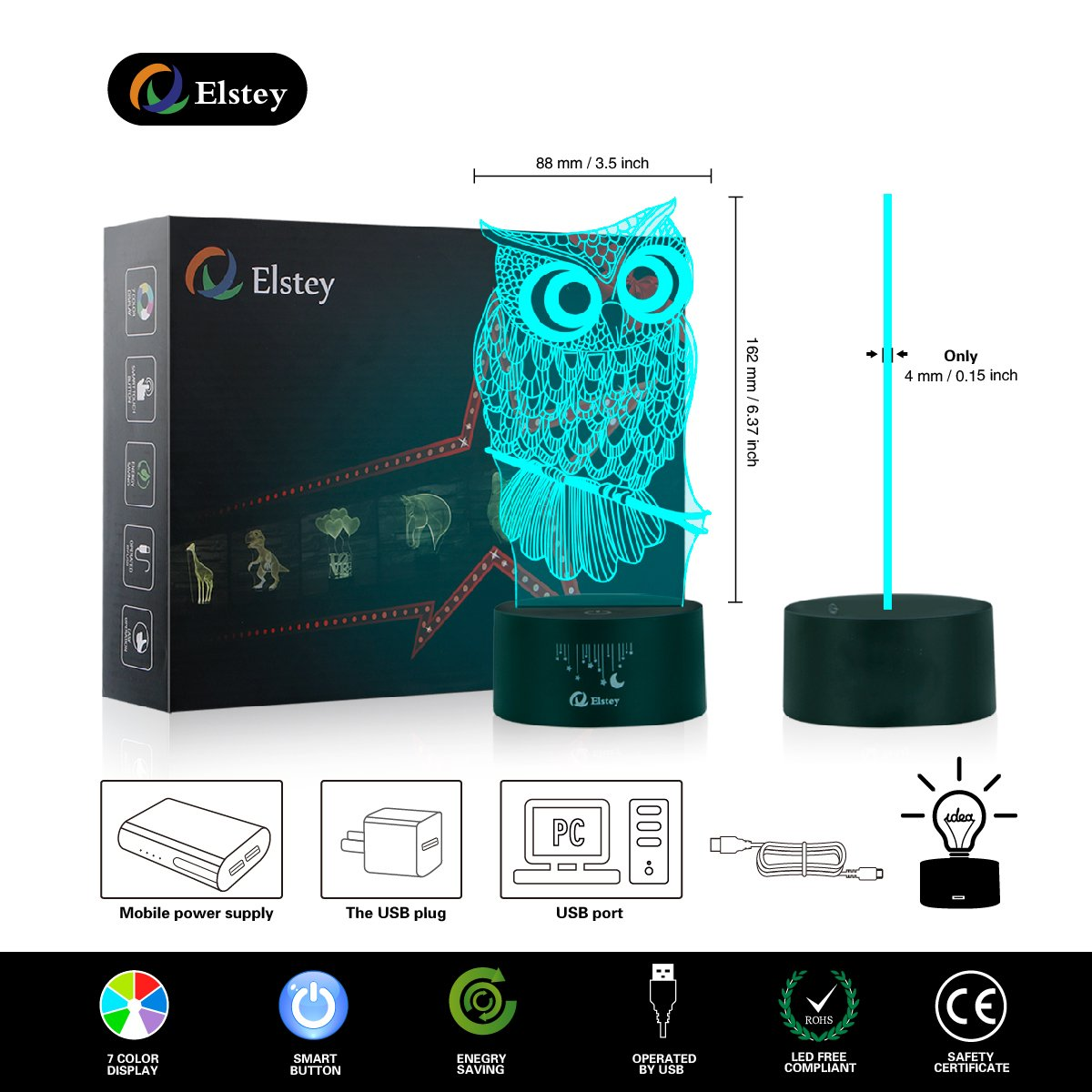 Owl 3D Illusion Lamp, Elstey 7 Color Changing Touch Table Desk LED Night Light Great Kids Gifts Home Decoration by Elstey (Image #3)