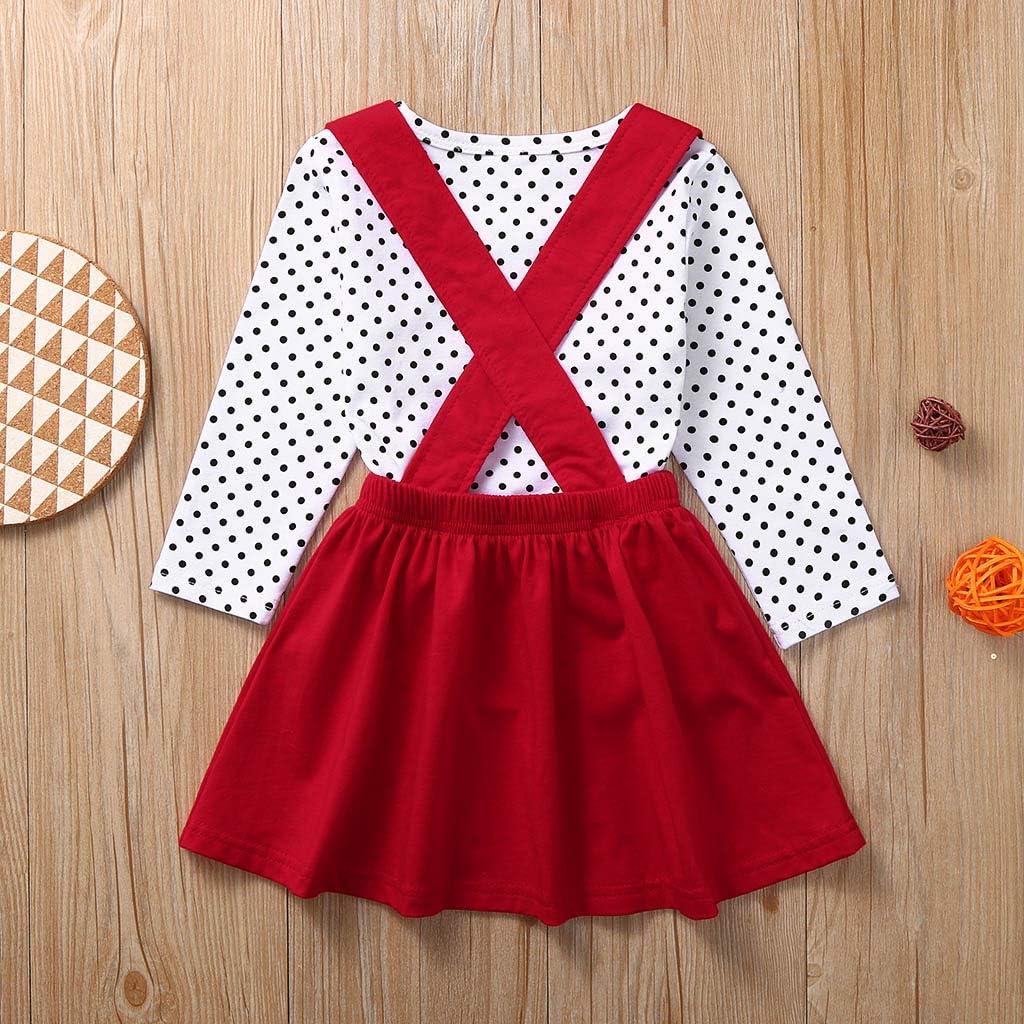 HIRIRI Toddler Baby Girls Skirt Outfits Valentine/'s Day Long Sleeve Shirt Love Print Strap Skirts Set Dress Clothes