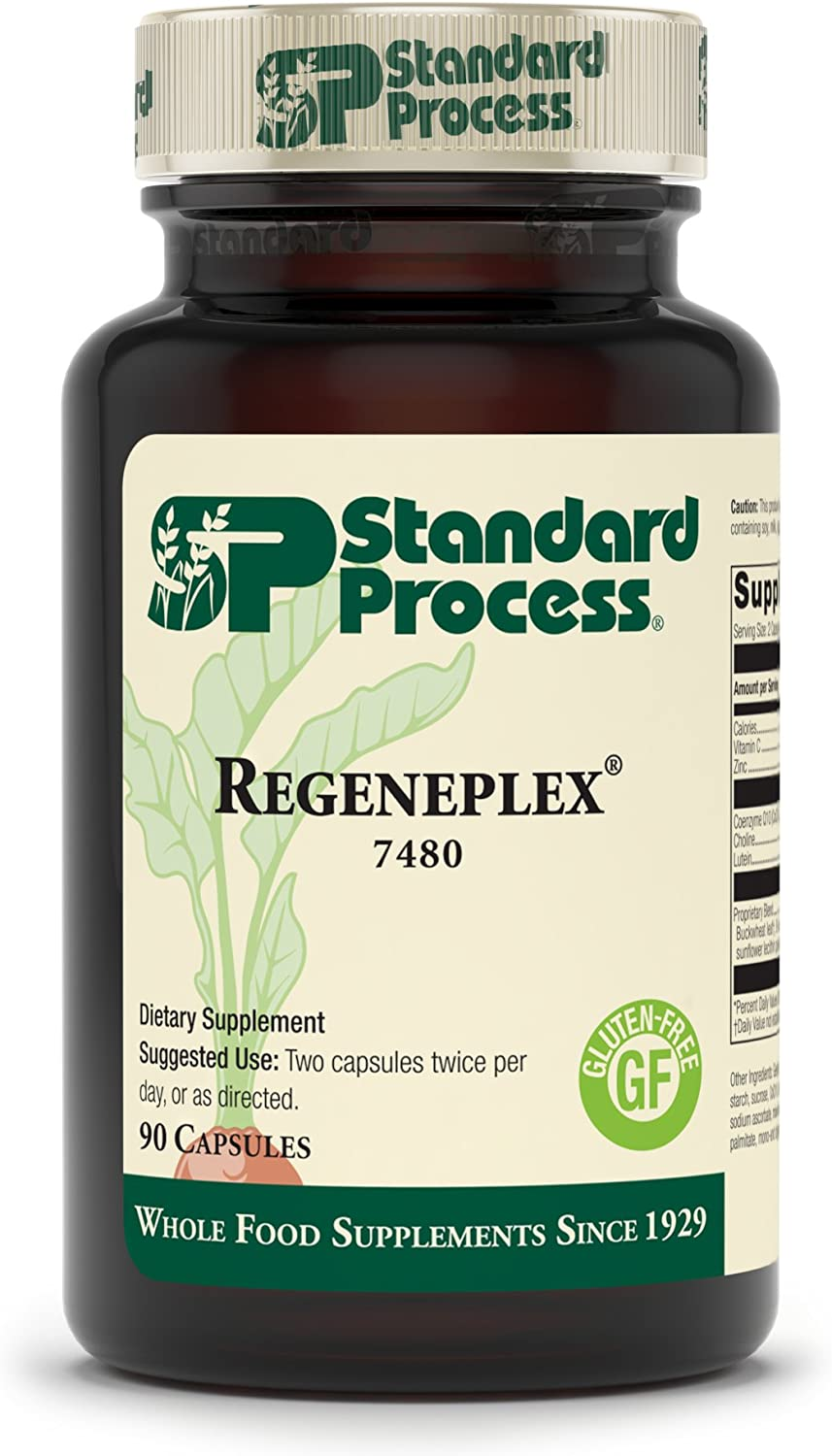 Standard Process Regeneplex - Whole Food Antioxidant, Blood Circulation and Skin Health, Digestion and Digestive Health with Coenzyme Q10 and Holy Basil for Wrinkles and Fine Lines - 90 Capsules