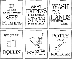 """Funny Vintage Bathroom Life Quotes Sayings Wall Poster Art Printings Set of 6 ("""" 8x10""""Canvas Picture) Bedroom Restroom Spa Bathroom Decor Art Prints Home Decor Children's kindergarten toilet prints No frame"""
