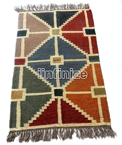 Amazon.com: Handmade Rustic Wool Jute 2x3 Kilim Wool Area ...