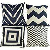 "Mod Provisions Pack of 4 Black and Beige Geometric Chevron & Square Style Modern MCM Square Decorative Throw Pillow Covers 17"" x 17"" inches (Covers Only)"