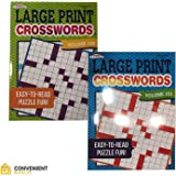 Large Print Crossword Puzzles for Adults (2 Books) 80 Challenging Mental Strategy Games for Men, Women | Home and Travel Use | Minimize Eye Fatigue, Strain