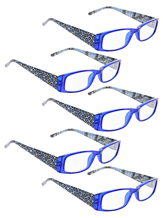 a53276b6918 Amazon.com  READING GLASSES 5 pack Tiger Patterned Temples Readers (Blue