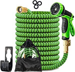 """JCKEL 50FT Expandable Garden Hose Water Hose with 9-Function High-Pressure Spray Nozzle, Heavy Duty Flexible Hose, 3/4"""" Solid Brass Fittings Leakproof Design"""