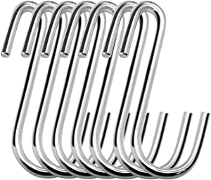 24 Pack Dreecy S Shaped Hooks,Heavy Duty Hangers,S Stainless Steel Hooks for Hanging Kitchenware Spoons Pans Pots Utensils Bags Towels Clothes Tools Plants