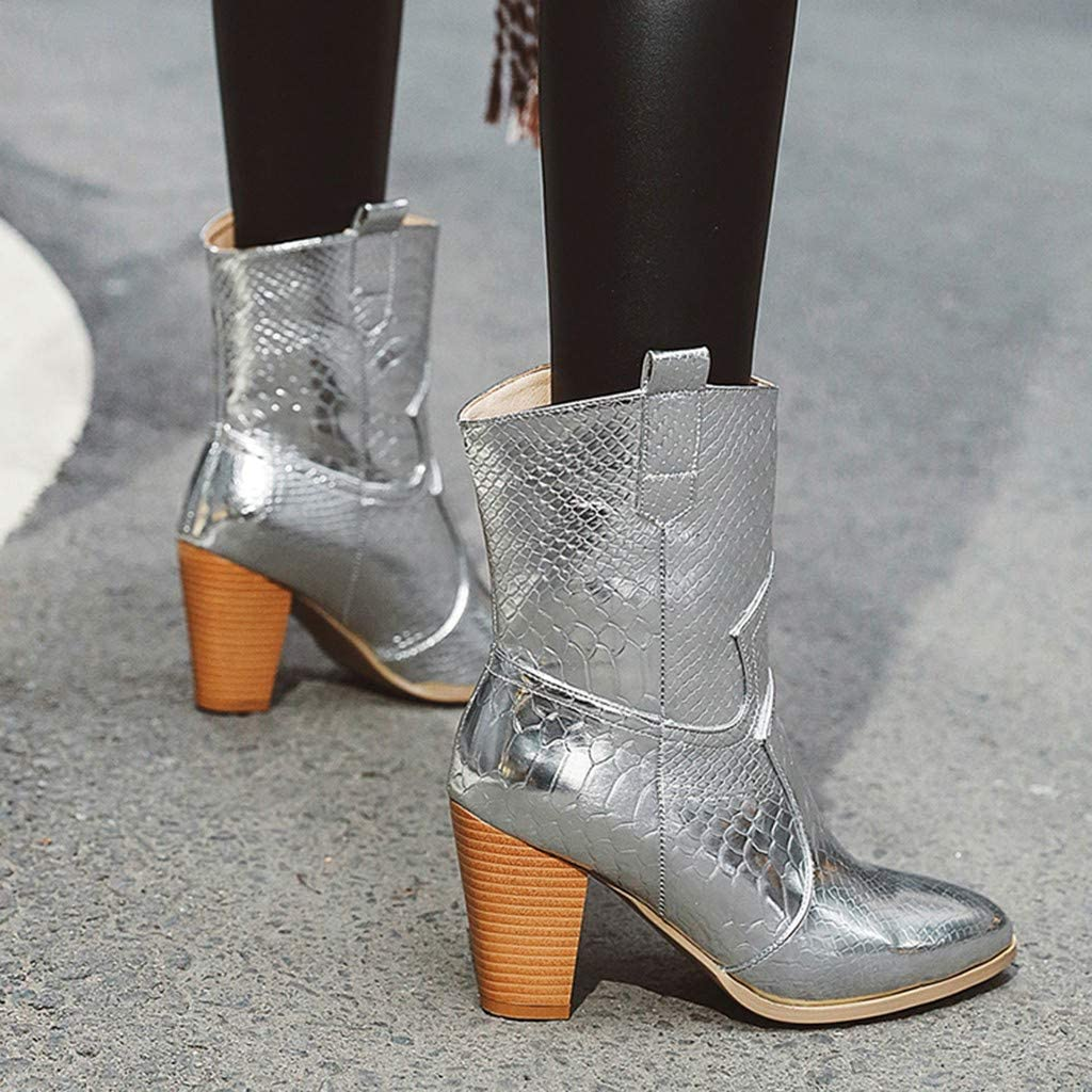 Women Western Mid-Calf Boots Fashion Snakeskin Pointed Toe Cowboy Boots Cone High Heels Winter Shoes Booties JHKUNO