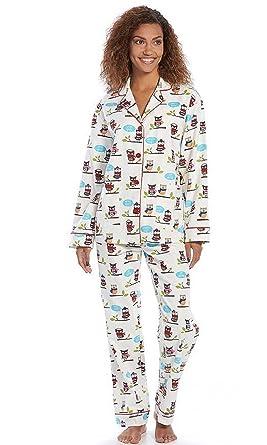 Womens Star & Skye Pajamas Notch Collar Flannel Pajama Set (Medium) Owl Motiff