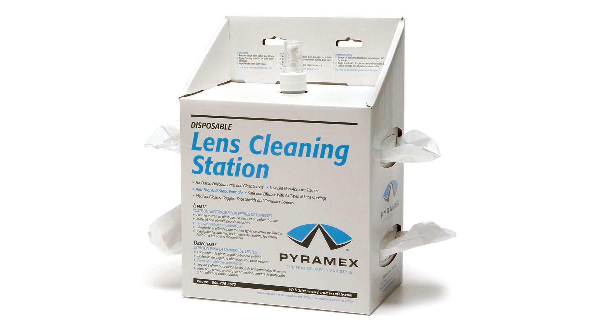 Pyramex Lens Cleaning Station With 16Oz Cleaning Solution 1200 Tissues by Pyramex Safety