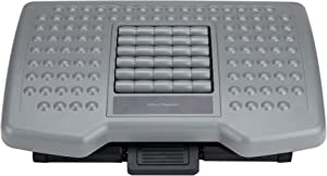 Mind Reader Adjustable Height Foot Rest with Rollers for Massage, Gray