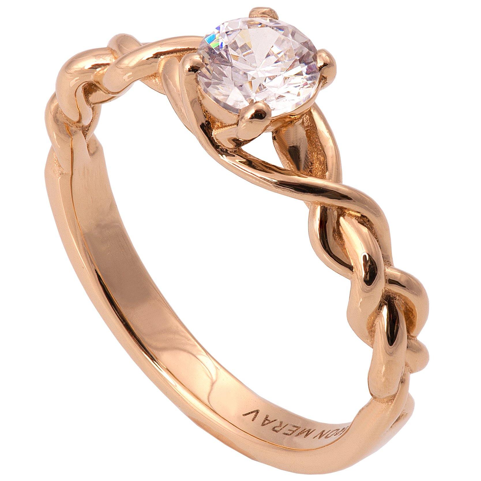 Solid 18K Rose Gold and Diamonds Braided Solitaire Engagement Ring For Women Unique Sets Promise Band Celtic Woven