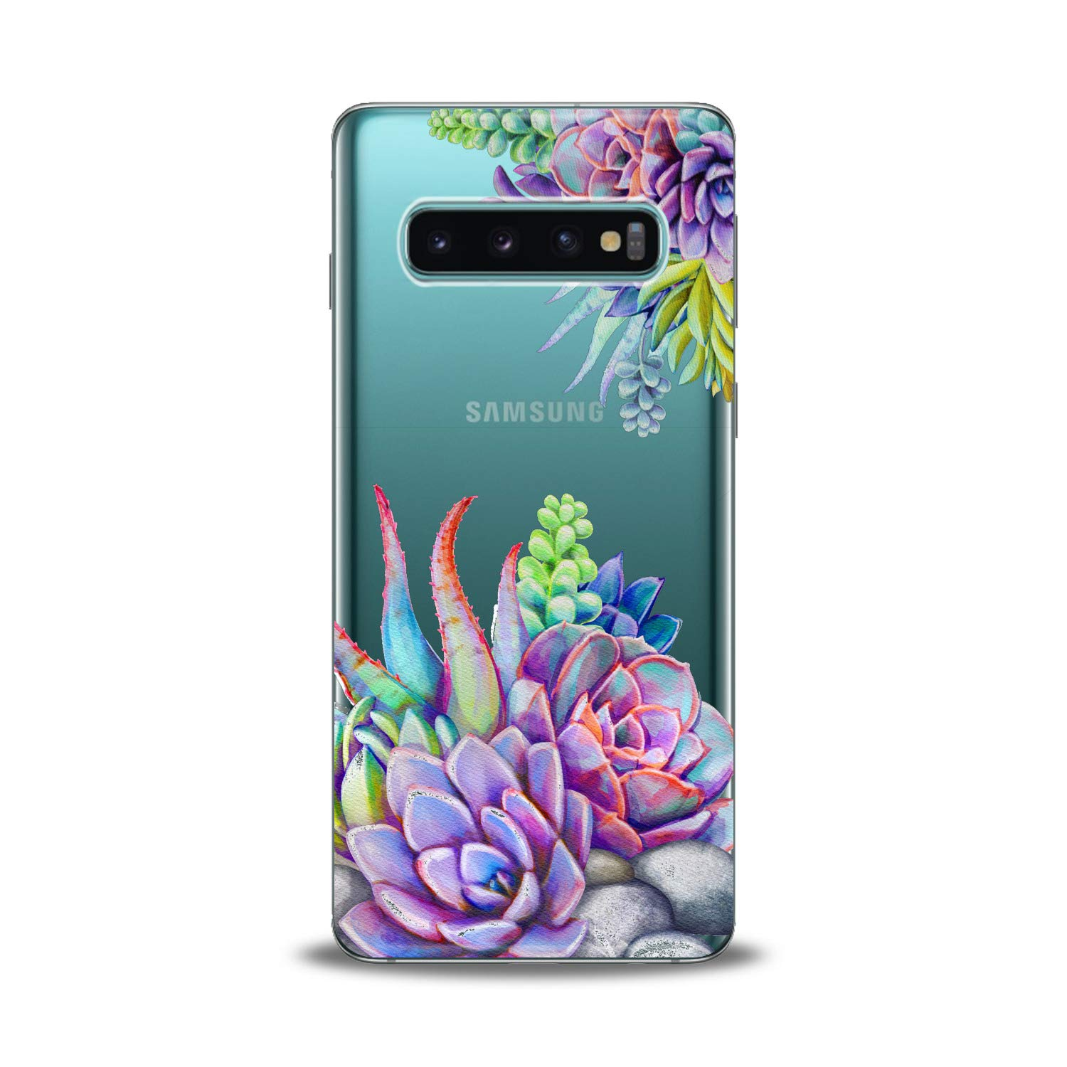 Lex Altern TPU Case for Samsung Galaxy s10 5G Plus 10e Note 9 s9 s8 s7 Purple Succulent Clear Silicone Flower Leaves Phone Pink Cover Print Violet Protective Amazing Flexible Transparent Girl Unique