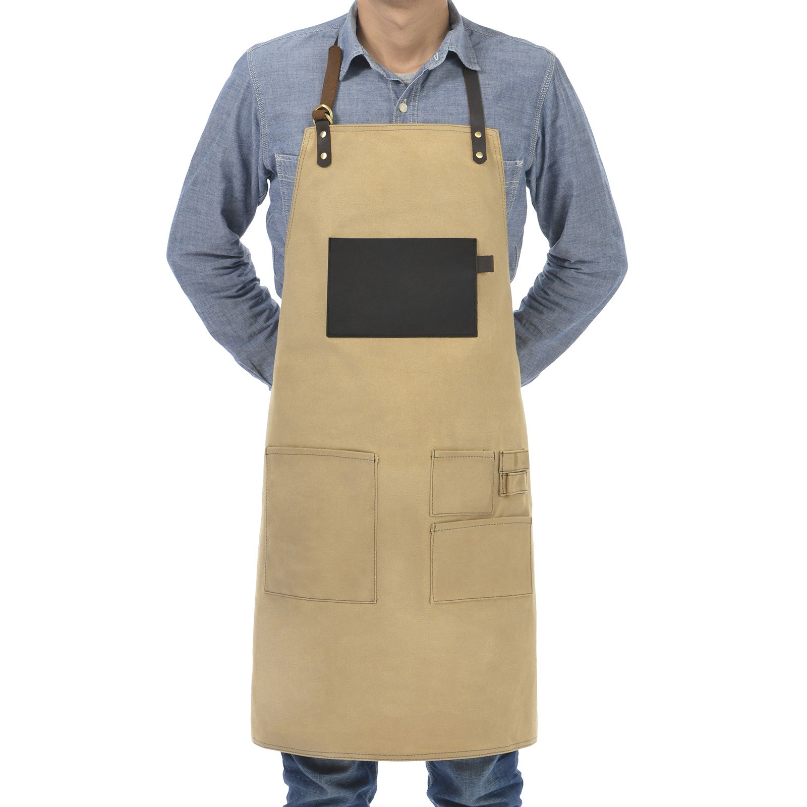 VEEYOO Heavy Duty Waxed Canvas Utility Apron with Pockets, Adjustable Shop Work Tool Welding Apron for Men and Women, Tan, 27x34 inches