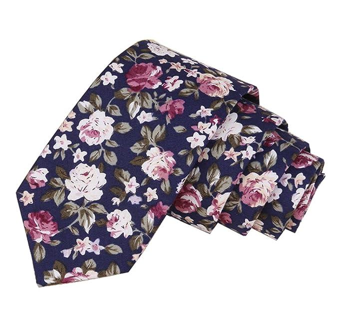 Corbata de lino modelo slim de color azul con flores vintage en distintas  tonalidades de rosa. Tamaño aproximado de 57″ de largo y 2.36 de ancho. e5b7c564e0df6
