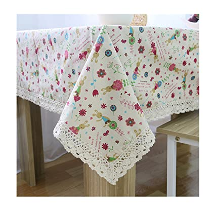 DKYY Korean Style Rabbit Pattern Lace Tablecloths Linen Tablecloth Table Covers Party Wholesale Linens
