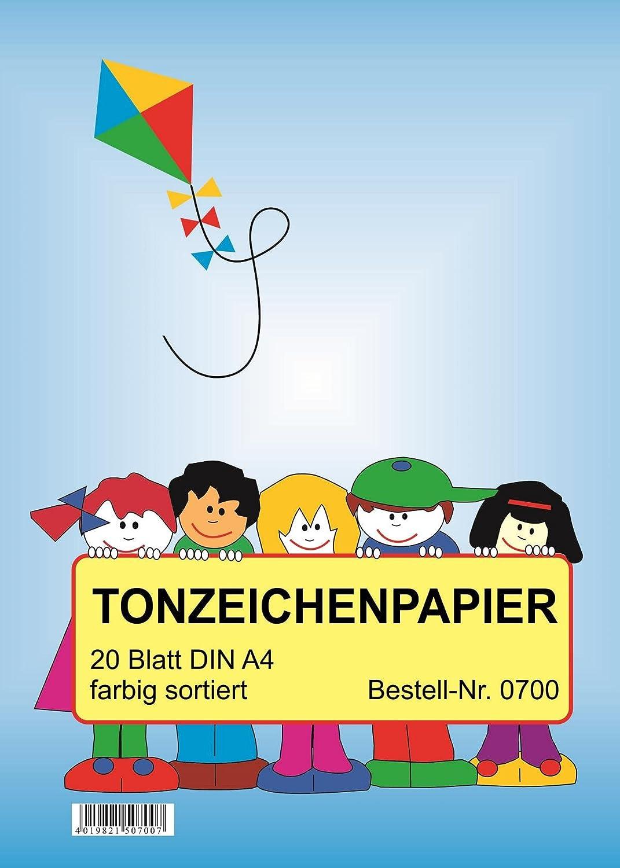 10 verschiedene Farben DIN A4 5 Bl/öcke Tonzeichenpapier mit je 20 Blatt