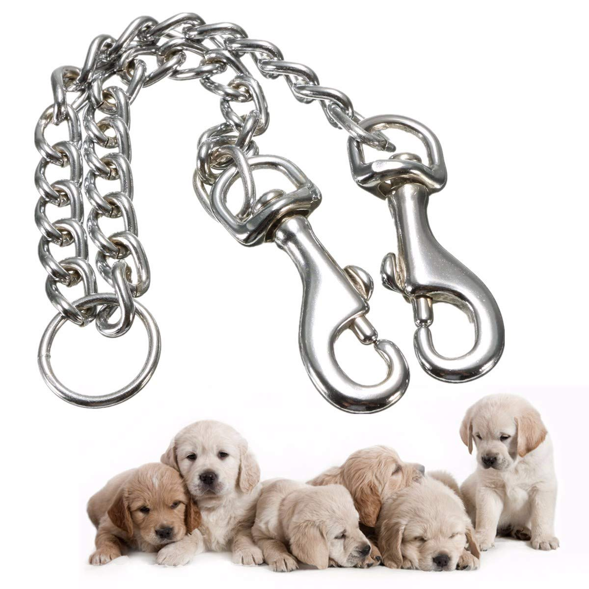 WCHAOEN Stainless Double Headed Dog Traction Rope Pet Coupler Twin Lead Bite Resistant Pet Chain Accessories Tool by WCHAOEN