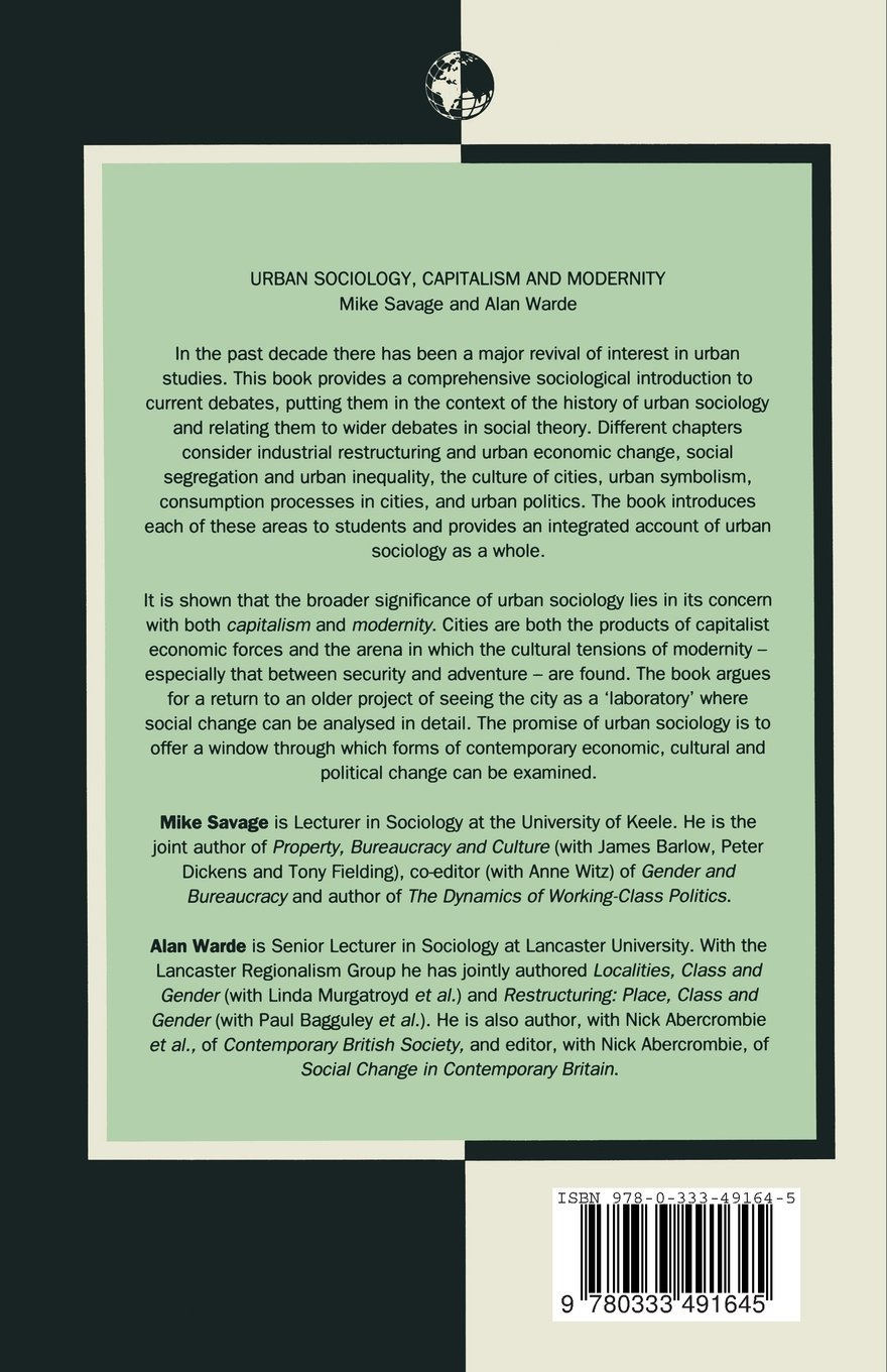Buy Urban Sociology, Capitalism and Modernity (Sociology for a Changing  World) Book Online at Low Prices in India | Urban Sociology, Capitalism and  ...