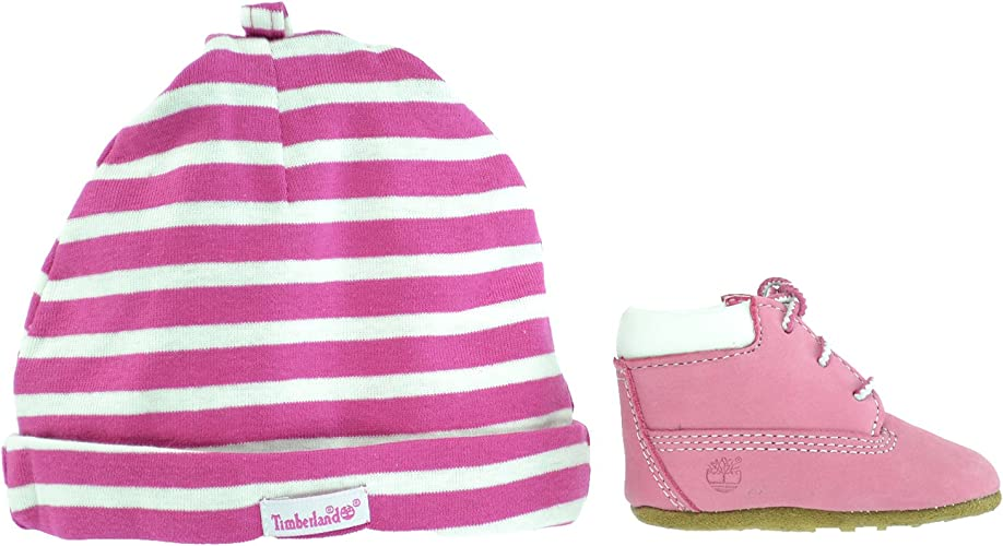 Timberland Infant Crib PINK Leather Baby Booties And Hat GIFT SET Style 9680R