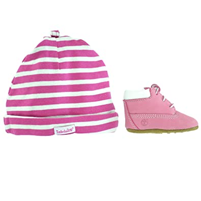 Timberland Crib Booties And Hat Set Infant Toddlers Baby Pink/white Clothing, Shoes & Accessories