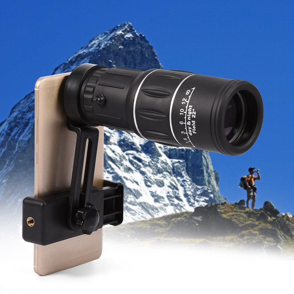 Fosa 16X Hiking HD Camera Lens Monocular Telescope Zoom Waterproof Fog Proof with Phone Holder by fosa