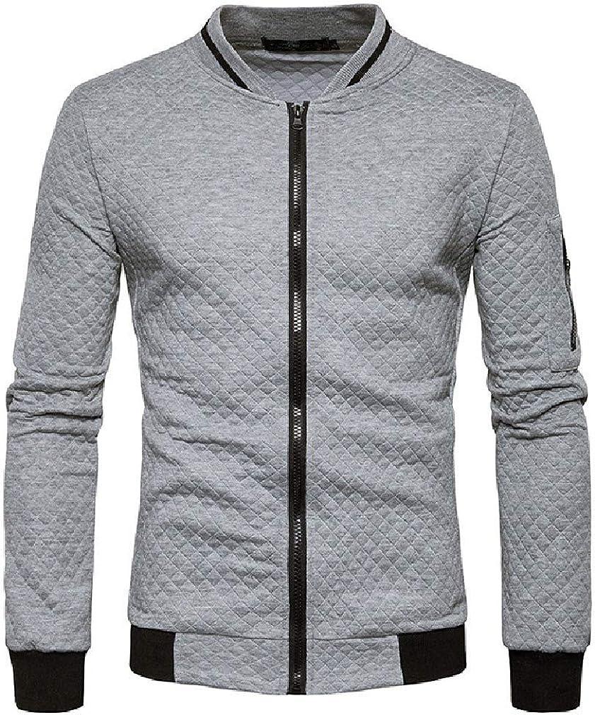 HEFASDM Men Zip Fastening Baseball Jacket Autumn Winter Stand-up Collar Sweatshirt