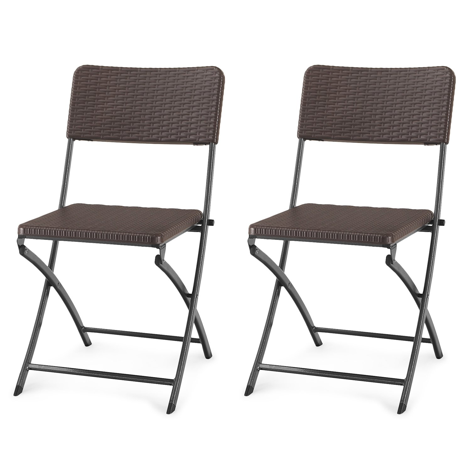 Adeco Folding Bistro-Style Patio Rattan Chairs Brown, Set Of 2