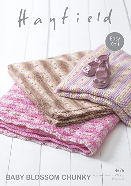 ecae16bb0 Sirdar Hayfield 4676 Knitting Pattern Easy Knit Baby Blankets in ...