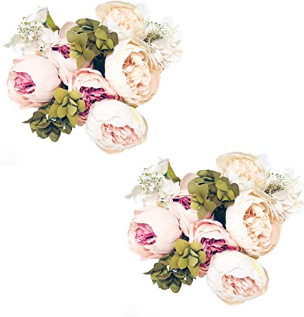 Amazon Com Pack Of 2 Artificial Flowers Vintage Fake Silk Peony Flowers Wedding Bush Bouquet Arrangement For Home Decor Party Floral Wreath Centerpieces Decoration And Diy Light Pink Arts Crafts Sewing