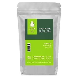 Elevate Tea CHINESE JASMINE GREEN TEA, Loose Leaf Tea Blend,  30 servings, 3 Ounce Pouch, Caffeine Level: Medium, Single Unit